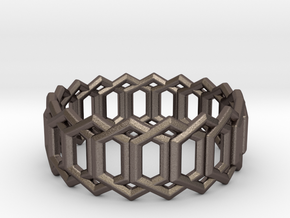 Geometric Ring 4- size 7 in Polished Bronzed Silver Steel