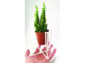 Plant holder elegant lines in White Natural Versatile Plastic