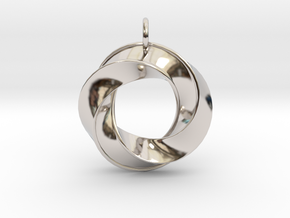 Mobius Pendant in Rhodium Plated Brass