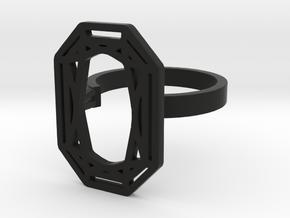 RECTANGLE DIAMOND RING in Black Natural Versatile Plastic: 8 / 56.75