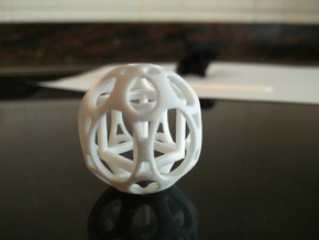 Sphere housing a mobile cube in White Processed Versatile Plastic