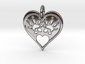Rat Foot Print Heart  in Polished Silver