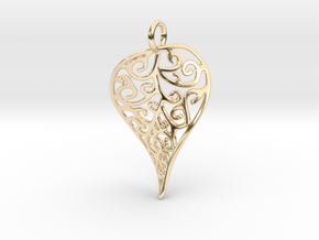 Fine Twisted Leaf Pendant in 14K Yellow Gold