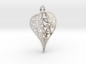 Fine Twisted Leaf Pendant in Rhodium Plated Brass