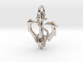 anchor heart in Rhodium Plated Brass