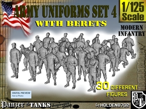 1-125 Army Modern Uniforms Set4 in Smooth Fine Detail Plastic