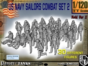1/120 US Navy Sailors Combat SET 2 in Smooth Fine Detail Plastic