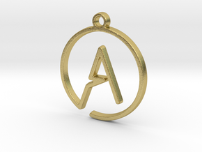 A Monogram Pendant in Raw Brass