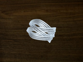 Turk's Head Knot Ring 4 Part X 3 Bight - Size 7 in White Natural Versatile Plastic