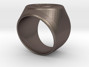 Riga Signet Ring v4 in Polished Bronzed Silver Steel
