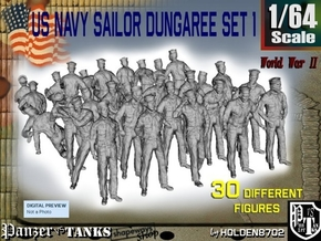 1/64 US Navy Dungaree Set 1 in Smooth Fine Detail Plastic