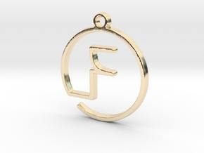 F Monogram Pendant in 14k Gold Plated Brass