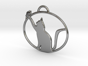 Friendly Cat Pendant in Polished Silver