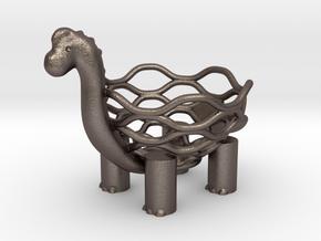 Brachiosaurs Egg Holder in Polished Bronzed Silver Steel