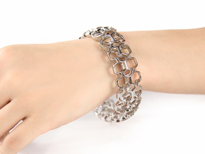 HQ Bracelet, Medium Size, d=65mm. Strong, Bold, Un in Rhodium Plated Brass: Medium