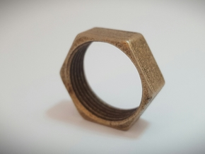 Threaded Hex Nut Ring in Polished Nickel Steel