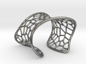 Voronoi Cuff Bracelet in Polished Silver
