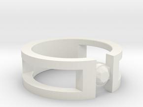 Stone ring in White Natural Versatile Plastic