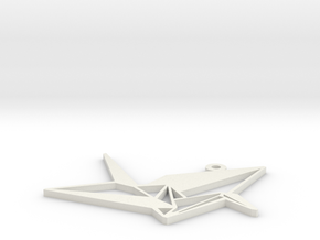 Crane Necklace Ornament in White Natural Versatile Plastic