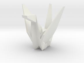 3D Origami Crane in White Natural Versatile Plastic