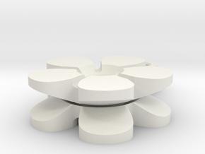 Spinning Flower Key Fob  in White Natural Versatile Plastic