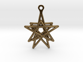 3D Printed Star in the Universe Earrings by bondsw in Polished Bronze