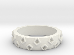 3D Printed Be a Little Different Punk Ring Size 7  in White Natural Versatile Plastic