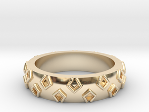 3D Printed Be a Little Different Punk Ring Size 7  in 14K Yellow Gold