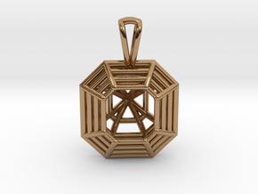 3D Printed Diamond Asscher Cut Pendant  in Polished Brass