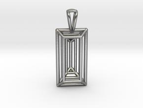 3D Printed Diamond Baugette Cut Pendant (Larger) in Natural Silver