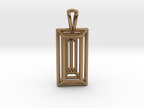 3D Printed Diamond Baugette Cut Pendant (Larger) in Natural Brass