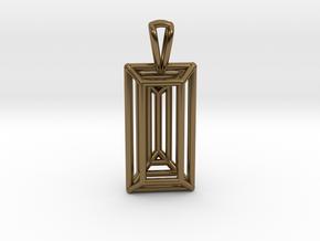 3D Printed Diamond Baugette Cut Pendant (Larger) in Polished Bronze