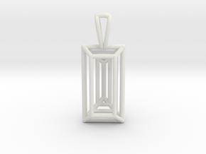 3D Printed Diamond Baugette Cut Pendant (Small) in White Natural Versatile Plastic