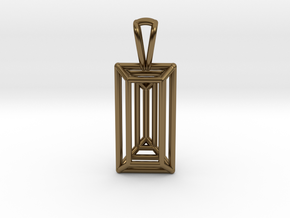 3D Printed Diamond Baugette Cut Pendant (Small) in Polished Bronze