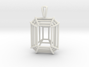 3D Printed Diamond Emerald Cut Pendant Large in White Strong & Flexible