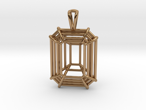 3D Printed Diamond Emerald Cut Pendant Large in Polished Brass