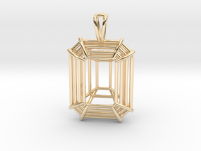 3D Printed Diamond Emerald Cut Pendant Large in 14k Gold Plated Brass