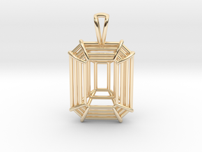 3D Printed Diamond Emerald Cut Pendant (Small)  in 14k Gold Plated Brass