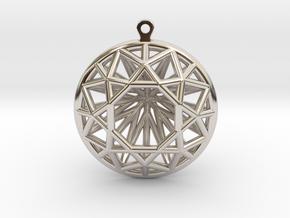3D Printed Diamond Circle Cut Earrings in Rhodium Plated Brass