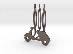 Scooter decorative hair comb - small size in Polished Bronzed Silver Steel