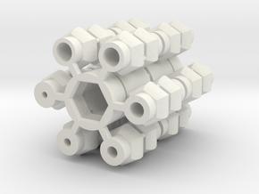 Universal Joint - Short version 2x in White Natural Versatile Plastic