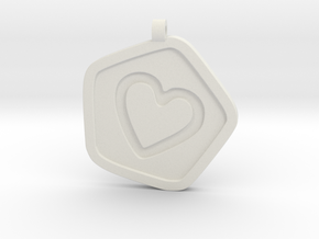 3D Printed Bond What You Love Pendant in White Natural Versatile Plastic