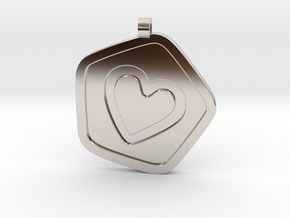 3D Printed Bond What You Love Pendant in Rhodium Plated Brass