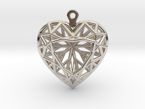 3D Printed Diamond Heart Cut Earrings  in Rhodium Plated Brass