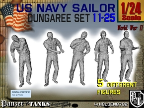 1-24 US Navy Dungaree Set 11-25 in White Natural Versatile Plastic