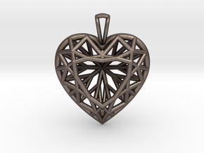 3D Printed Diamond Heart Cut Pendant (Large)  in Polished Bronzed Silver Steel