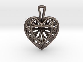 3D Printed Diamond Heart Cut Pendant (Small) in Polished Bronzed Silver Steel