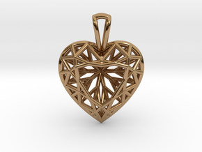 3D Printed Diamond Heart Cut Pendant (Small) in Polished Brass