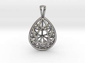 3D Printed Diamond Pear Drop Pendant  in Natural Silver