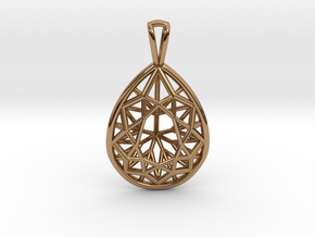 3D Printed Diamond Pear Drop Pendant  in Polished Brass